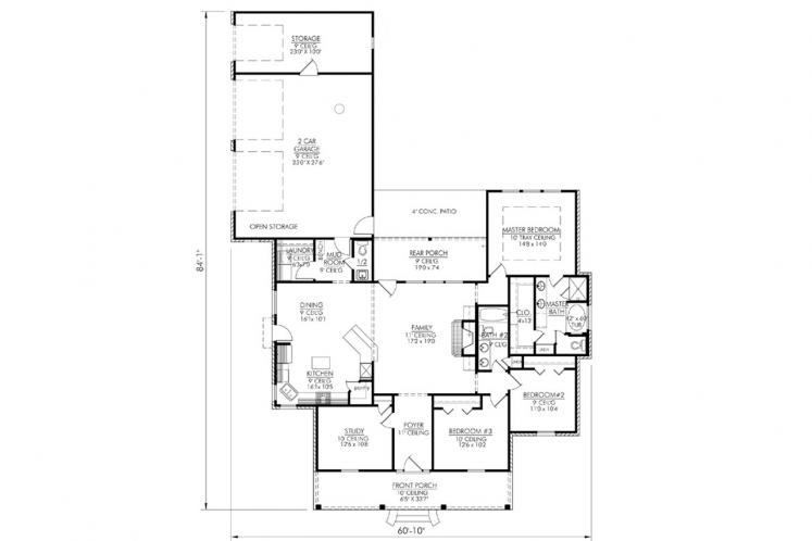Classic House Plan - Countryside 64958 - 1st Floor Plan