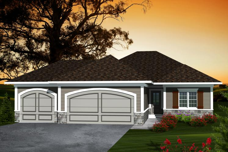 Ranch House Plan -  65019 - Front Exterior