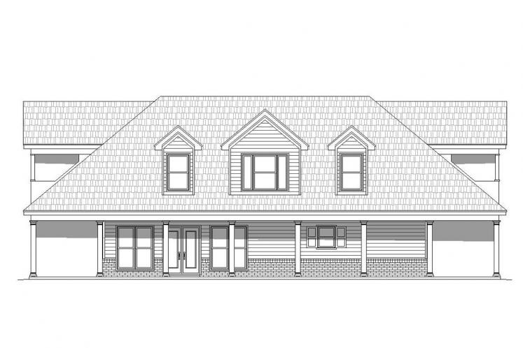 Cottage House Plan -  65056 - Rear Exterior
