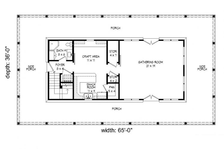 Cottage House Plan -  65056 - 1st Floor Plan
