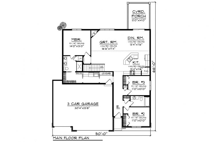Traditional House Plan -  65077 - 1st Floor Plan