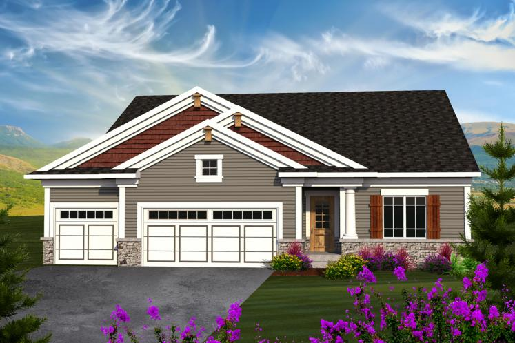 Ranch House Plan -  65077 - Front Exterior