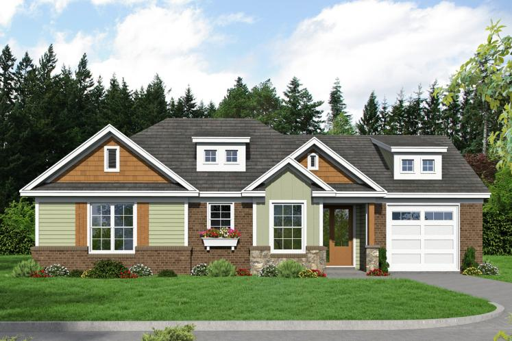 Craftsman House Plan -  65362 - Front Exterior