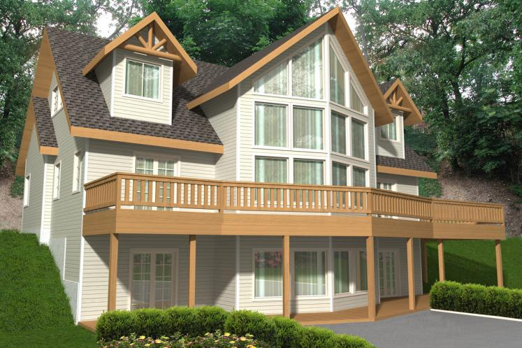 Lodge Style House Plan -  65404 - Rear Exterior