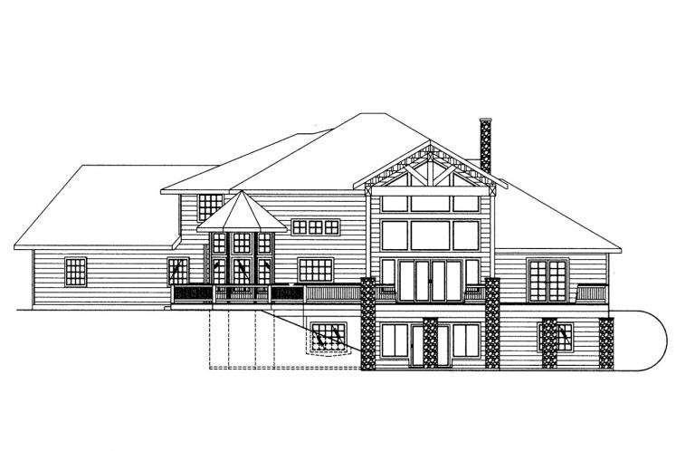 Lodge Style House Plan -  65463 - Rear Exterior
