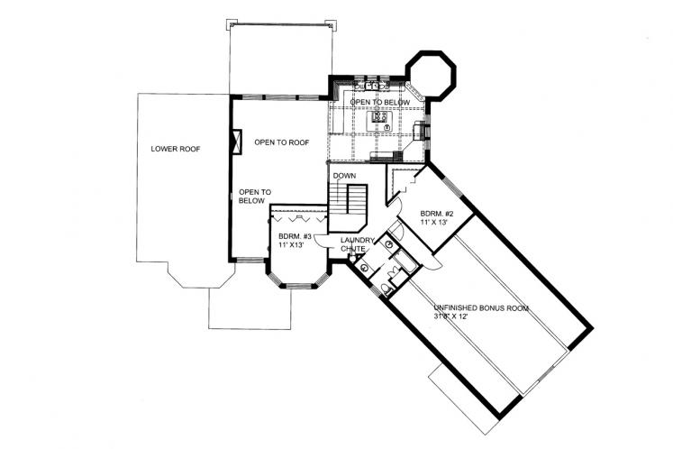 Modern House Plan -  65463 - 2nd Floor Plan