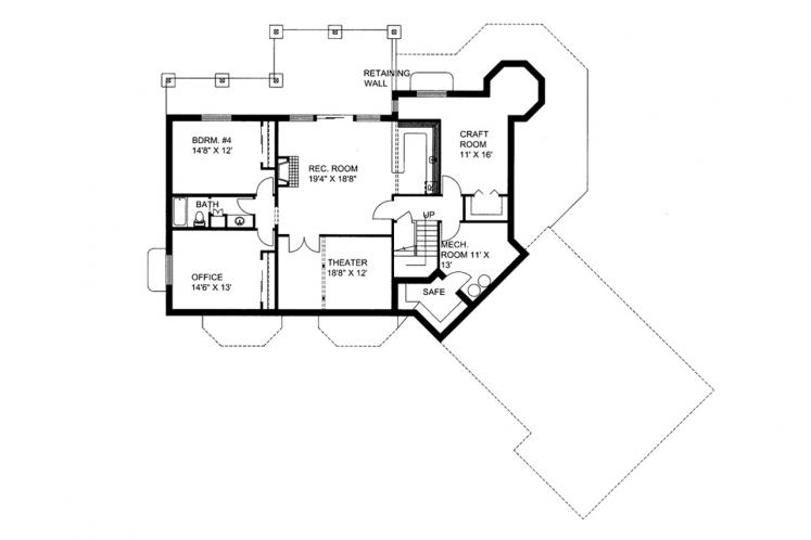 Craftsman House Plan -  65463 - Basement Floor Plan