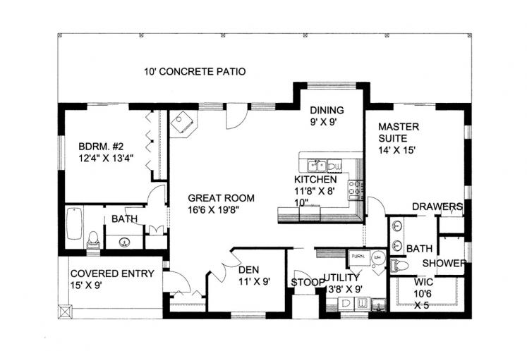 Traditional House Plan -  65506 - 1st Floor Plan