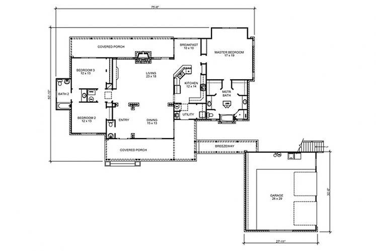Country House Plan - Blanco 66011 - 1st Floor Plan