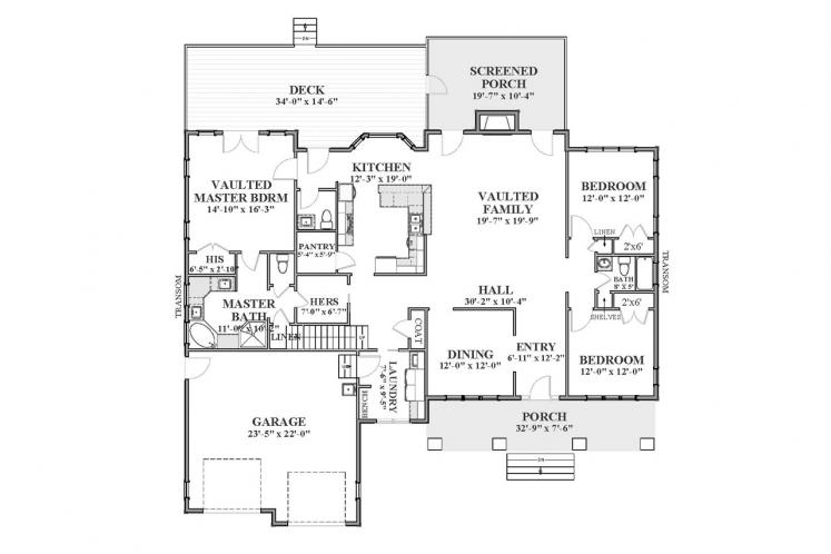Ranch House Plan - Carolina Cottage 66200 - 1st Floor Plan