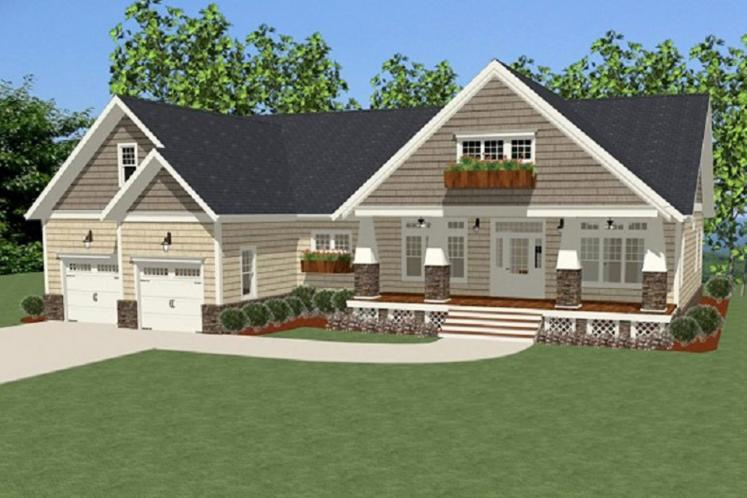 Craftsman House Plan - Carolina Cottage 66200 - Front Exterior
