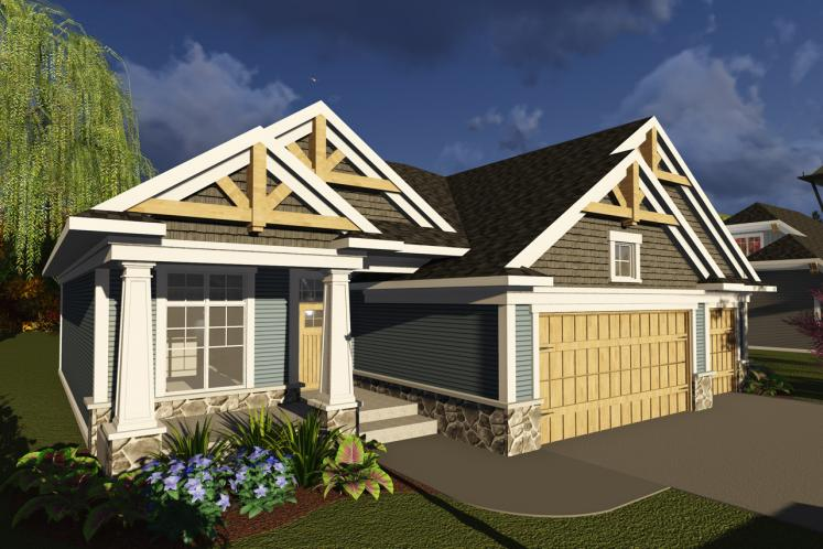 Craftsman House Plan -  66240 - Front Exterior