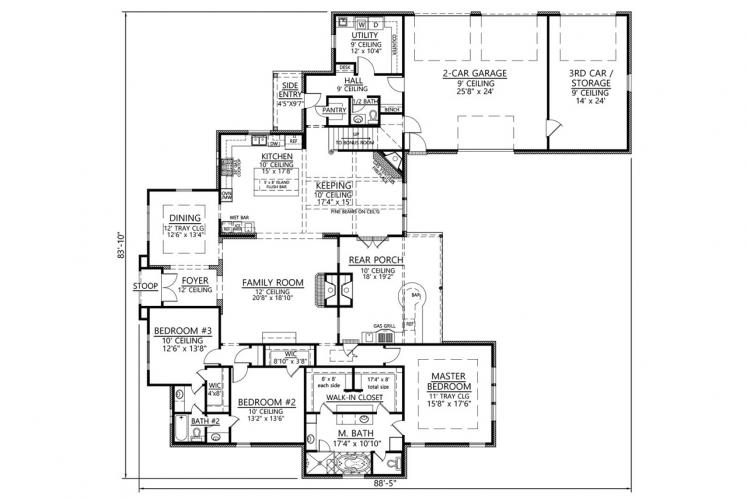 Country House Plan - Willow Grove 66388 - 1st Floor Plan