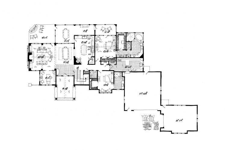 Traditional House Plan - Castle Hill 66429 - 1st Floor Plan
