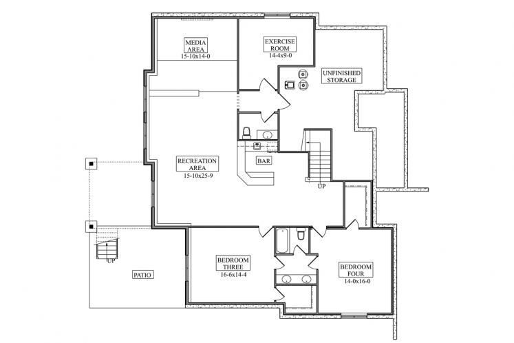 Craftsman House Plan - Hillcrest 66490 - Basement Floor Plan
