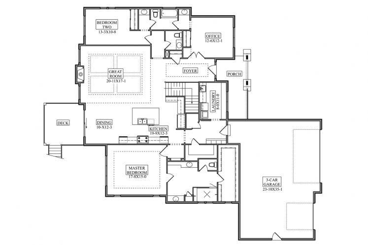 Ranch House Plan - Hillcrest 66490 - 1st Floor Plan