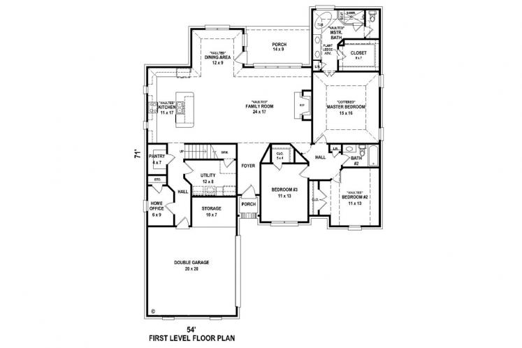 Southern House Plan -  66569 - 1st Floor Plan
