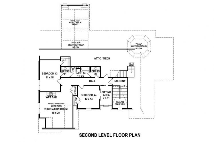Southern House Plan -  66645 - 2nd Floor Plan