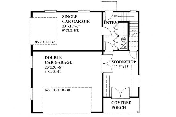 Traditional Garage Plan -  66679 - 1st Floor Plan