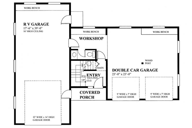Traditional Garage Plan -  66684 - 1st Floor Plan