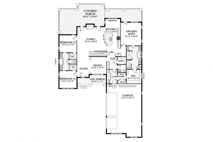 Craftsman House Plan - Clarendon C 66809 - 1st Floor Plan