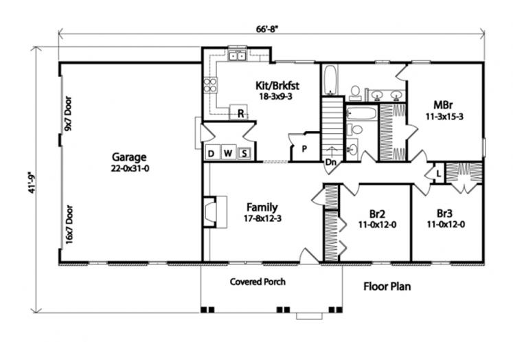 Ranch House Plan -  66816 - 1st Floor Plan