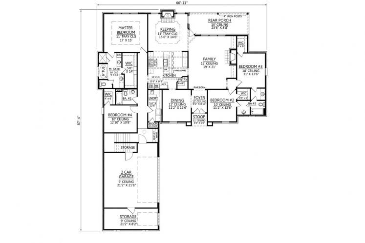 European House Plan - Penbrooke 66840 - 1st Floor Plan