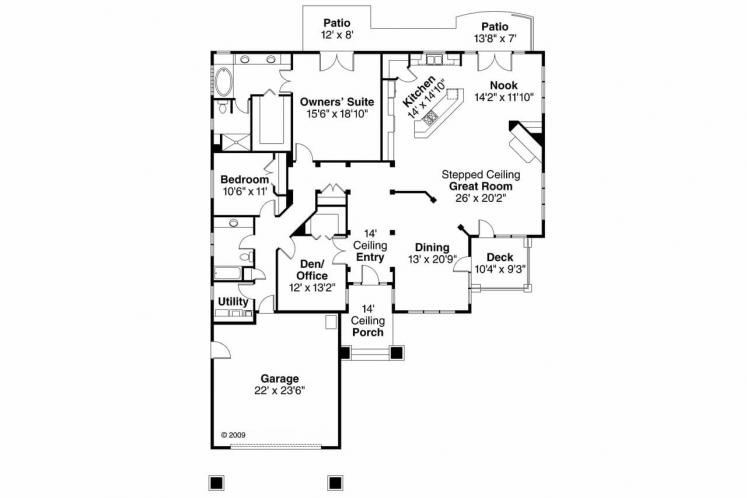European House Plan - Meadowbrook 66845 - 1st Floor Plan