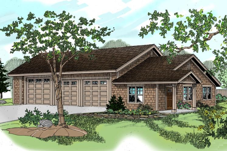 Craftsman Garage Plan - RV Garage 66947 - Front Exterior