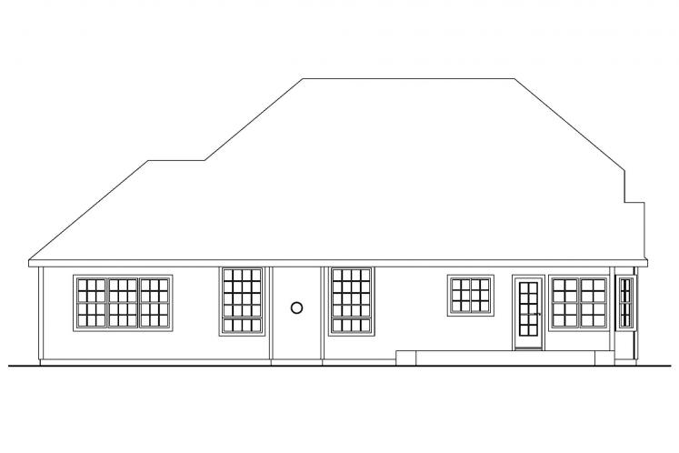 Southern House Plan - Fitzgerald 66977 - Rear Exterior