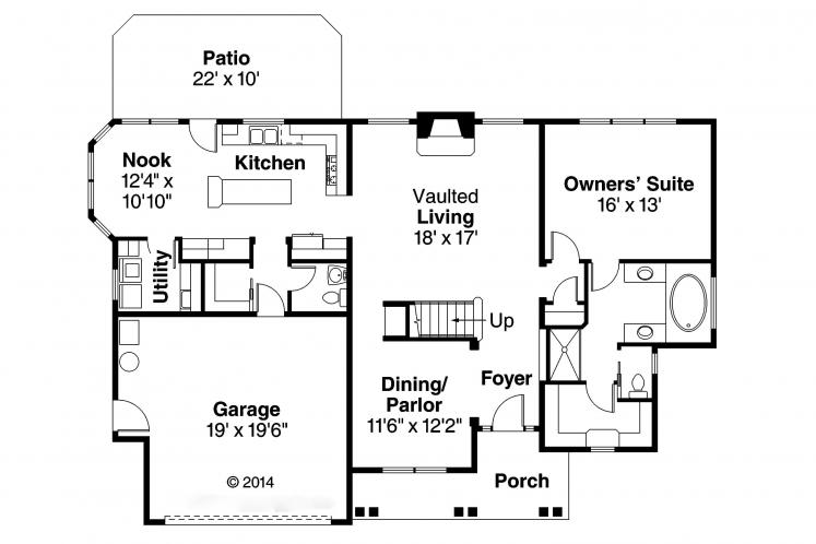 Southern House Plan - Fitzgerald 66977 - 1st Floor Plan