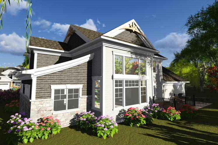Bungalow House Plan -  67275 - Rear Exterior