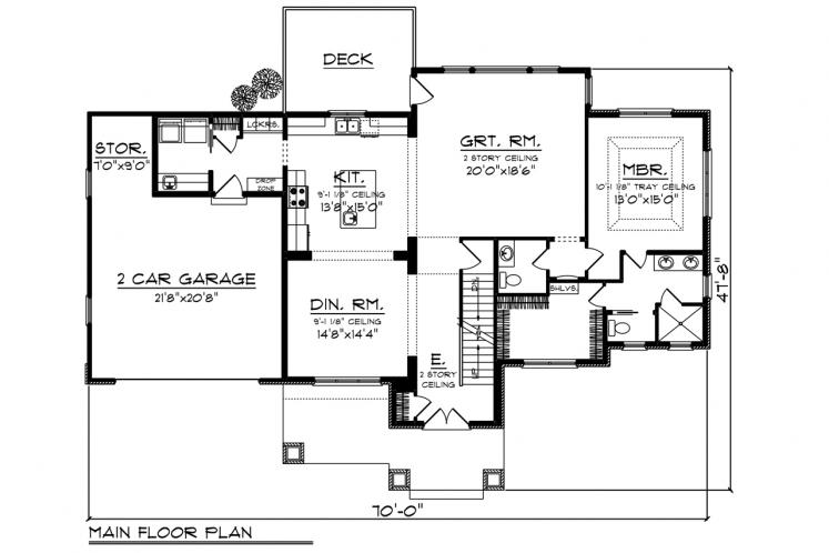 Craftsman House Plan -  67275 - 1st Floor Plan