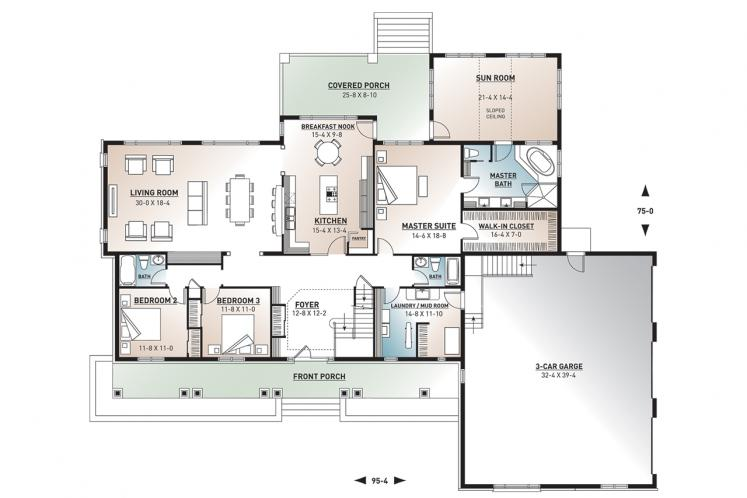 Ranch House Plan - Robertsdale 67277 - 1st Floor Plan