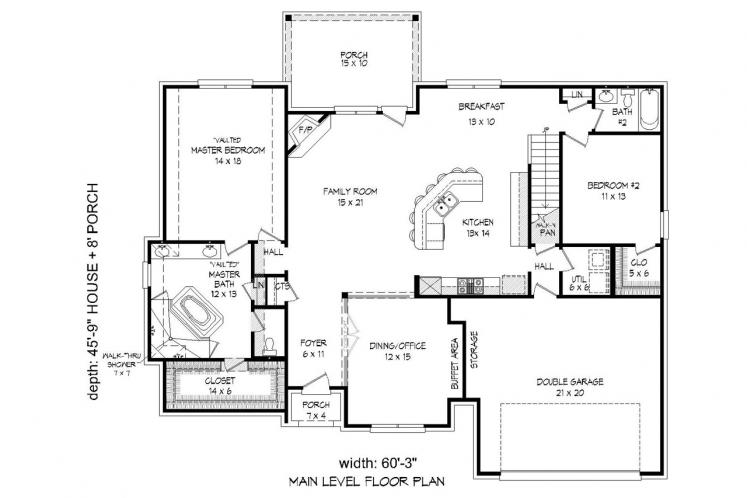 Tudor House Plan -  67321