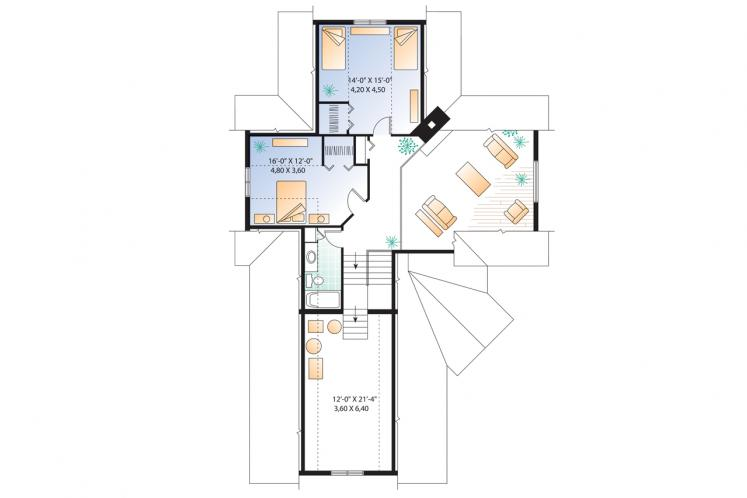 Traditional House Plan - Journey's Edge 67481 - 2nd Floor Plan