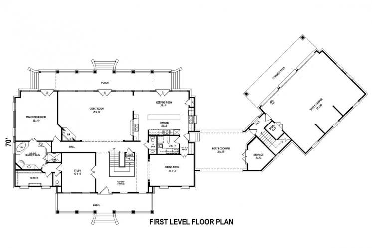 Colonial House Plan -  67571 - 1st Floor Plan
