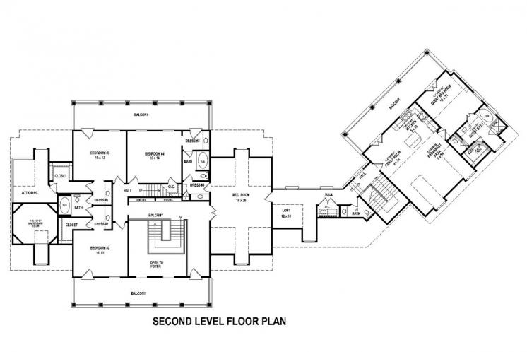 Southern House Plan -  67571 - 2nd Floor Plan