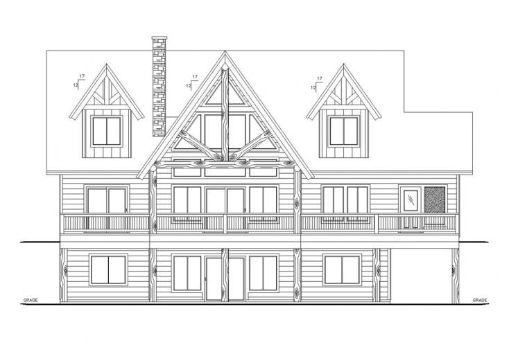 Lodge Style House Plan -  67588 - Rear Exterior