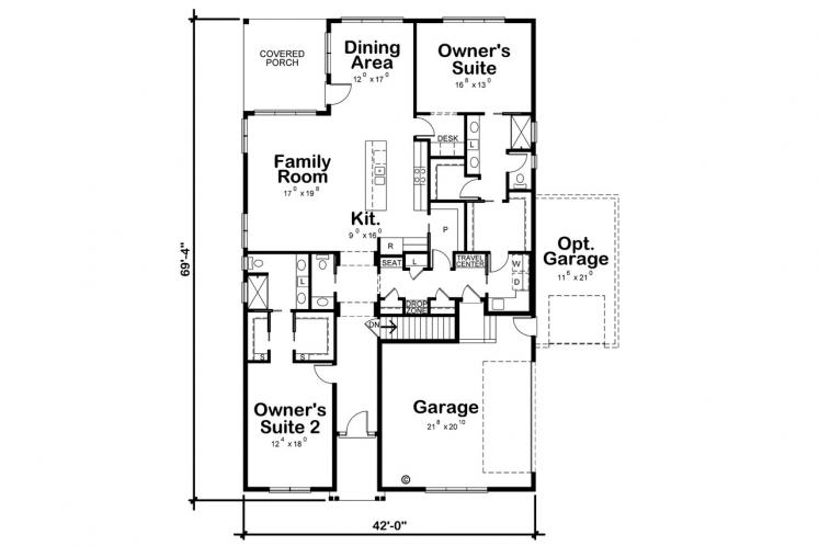 Traditional House Plan - Arienne 67672 - 1st Floor Plan