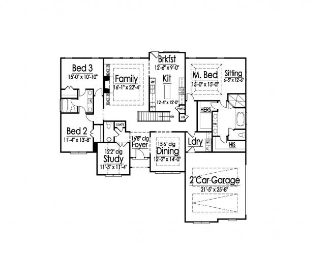 Traditional House Plan -  67724 - 1st Floor Plan