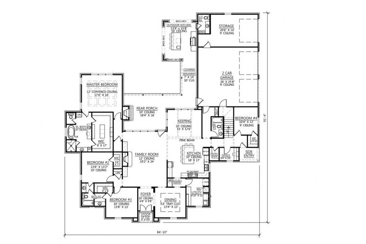 Classic House Plan - St. Augustine 67997 - 1st Floor Plan