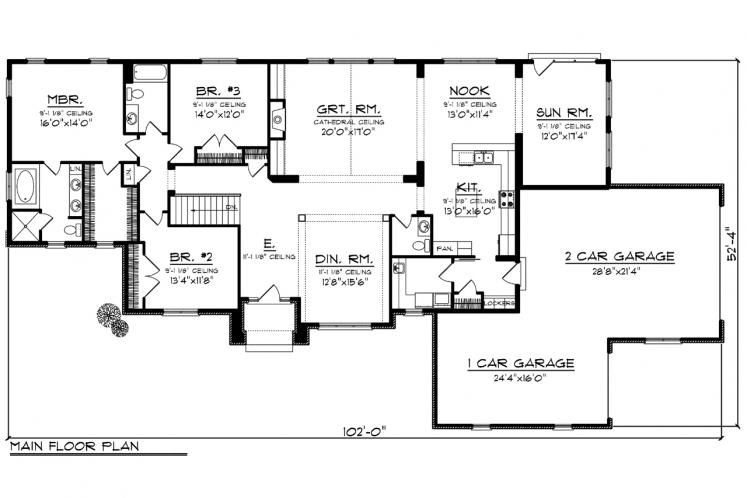 Ranch House Plan -  68016 - 1st Floor Plan