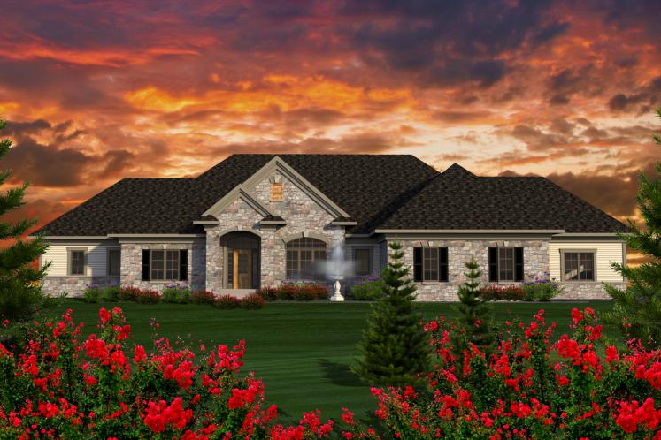 Ranch House Plan -  68016 - Front Exterior