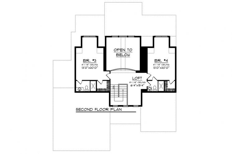 Country House Plan -  68029 - 2nd Floor Plan