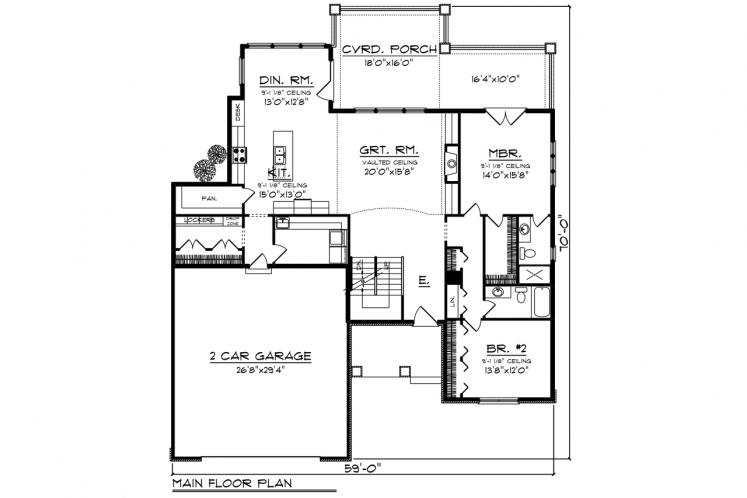 Ranch House Plan -  68029 - 1st Floor Plan