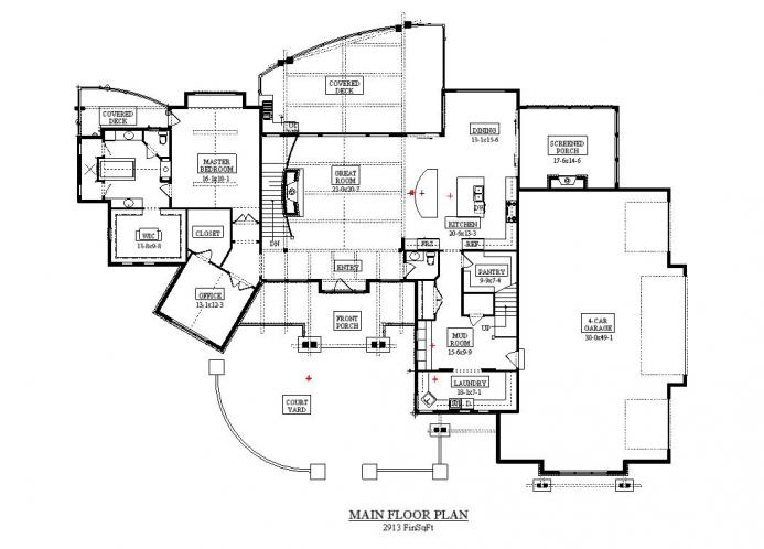 Lodge Style House Plan - Acula 68040 - 1st Floor Plan