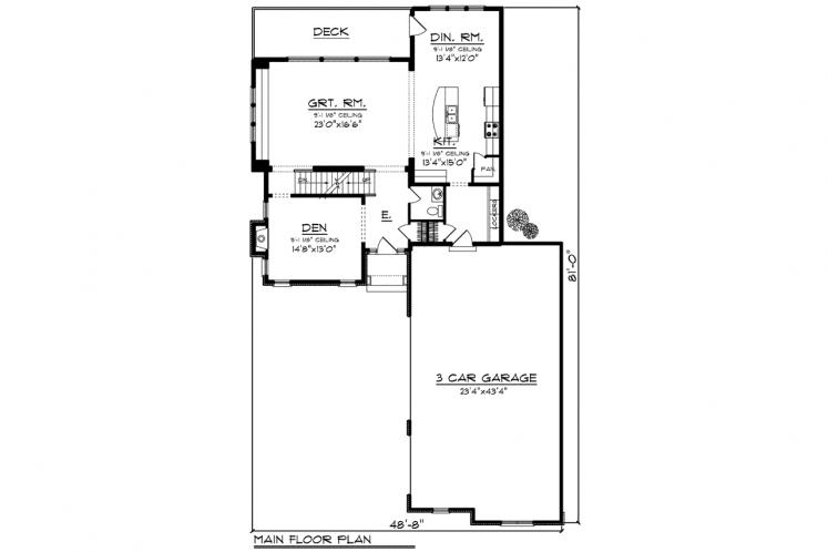 Traditional House Plan -  68044 - 1st Floor Plan
