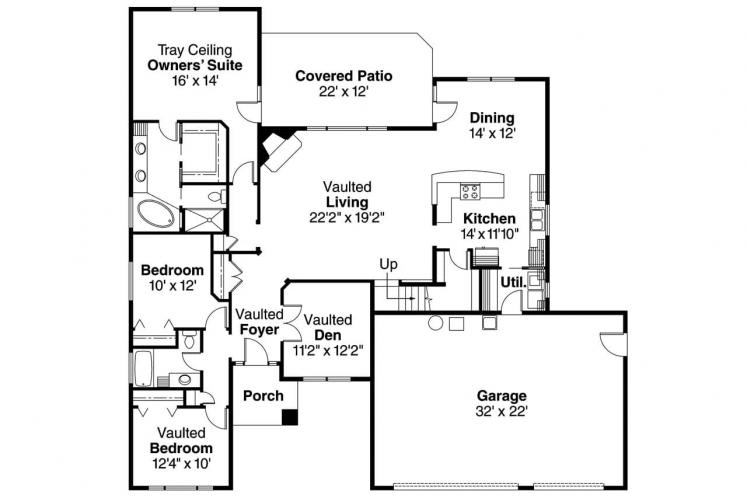 Craftsman House Plan - Cheyenne 68191 - 1st Floor Plan