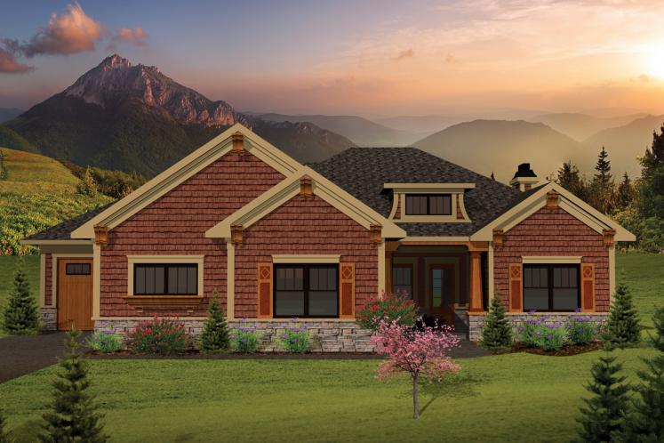 Craftsman House Plan -  68372 - Front Exterior